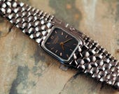 Vintage Caravelle by Bulova Quartz ladies watch smaller sized watch metal band slate grey dial