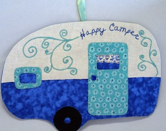 Vintage Trailer Happy Camper Mug Rug - Deep Blue