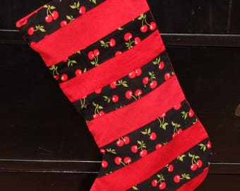 Black Red Cherries Christmas Stocking