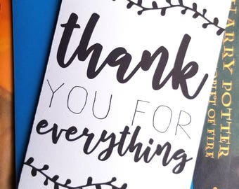 Thank You for Everything Card with Matching Blue Envelope