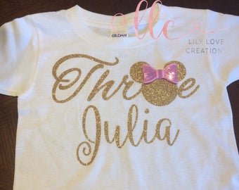 Pink and gold Minnie mouse birthday shirt