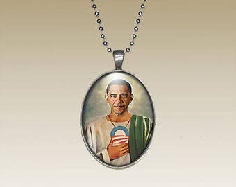 Obama Necklace Obama Pendant Saint Obama Obama Photo