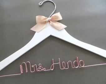 ROSE GOLD Wire Hanger, Rose Gold Wedding Hanger, Custom Hanger, Wedding Dress Hanger, Mrs Coat Hanger, Engagement Gift, Shower Gift