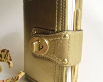 "Women's Vintage NEVER USED ""Coach"" Gold Small Leather Organizer Wallet Planner w/ Address Bk & PEN- Birthday Gift Her Mom Mother Bride Teen"