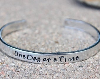 Inspirational Bracelet, One Day at a Time, Mantra Cuff Adjustable Mantra Band, Motivational Bangle, Inspirational Bangle, One Day at a Time