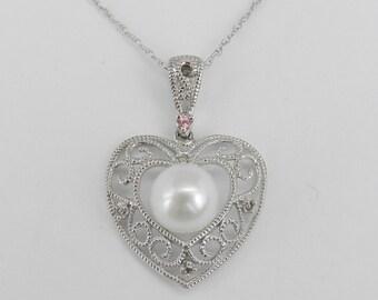 "14K White Gold Diamond Pearl Pink Tourmaline Heart Pendant Necklace Chain 18"""