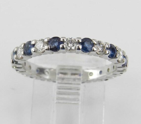 Diamond and Sapphire Eternity Wedding Ring Anniversary Band 14K White Gold Size 6