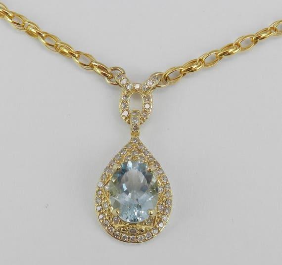 Diamond and Aquamarine Halo Necklace Pendant 14K Yellow Gold Chain Wedding Gift