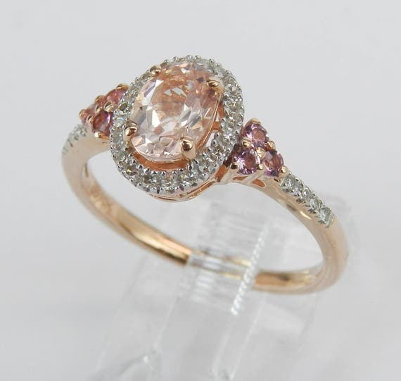 Morganite Pink Sapphire Diamond Halo Engagement Ring Rose Gold Size 7.25