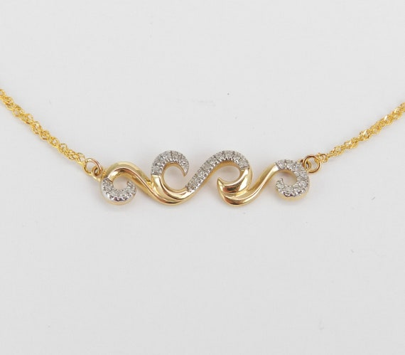 Diamond Scroll Bar Necklace Cluster Pendant Yellow Gold Wedding Gift Chain 17""