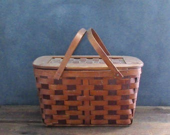 Vintage Woven Wood Picnic Basket, Farmhouse Storage