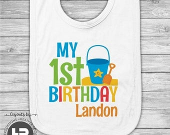 Personalized Beach 1st Birthday Bib - Personalized Ocean Sealife Beach Theme Birthday Baby Bib