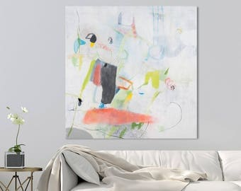 Colorful Modern Canvas art Large City Art Geometric painting 32x32 White painting with Pink and green  by Duealberi