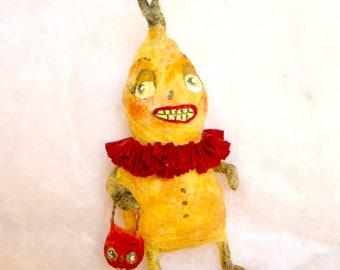 Spun cotton veggie man squash Halloween feather tree OOAK vintage craft ornament by jejeMae