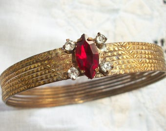 Gold tone Bangle ~ Red Rhinestone Accent ~ Vintage Boho / Gypsy Style ~ Antiqued Metal