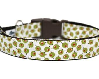 "Olive Dog Collar 3/4"" or 1"" Martini Dog Collar"