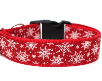 """Christmas Dog Collar 1.5"""" Snowflake Dog Collar"""