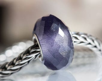 Small core Purple Cats eye faceted gemstone bead european charm