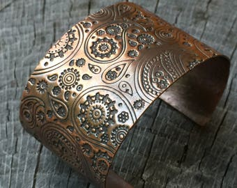 Wide Rustic Copper Metal Cuff w/ Stamped Paisley Pattern - 7th Anniversary Gift for Her - Modern Bohemian BOHO Gypsy Festival Jewelry