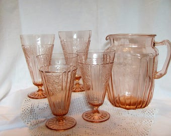 Pink Mayfair Open Rose 80 oz Pitcher and 4 Iced Tea Footed Tumblers / Pink Depression Pitcher and Tumblers