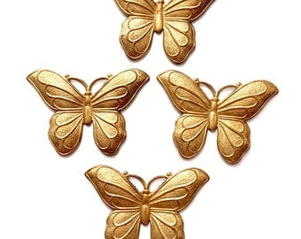 Vintage French Butterflies, 4 Piece, Butterfly Stampings, Vintage Jewelry Supplies, Gingerbread Heavy Patina, 31 x 45mm, B'sue, Item03463