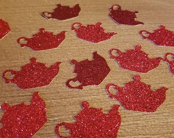 Teapot Red Glitter Confetti Birthday Party Princess tea party use as Invitation scatter or filler