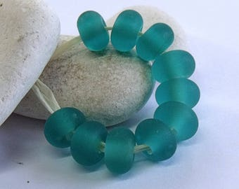 Etched Teal, Lampwork Spacer Beads, SRA, UK