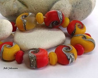 Autumn Hedgerow, Lampwork Pebble Beads, SRA, UK