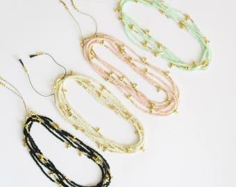 Sautoir perles miyuki Delica et or // Delica miyuki beads long Necklace