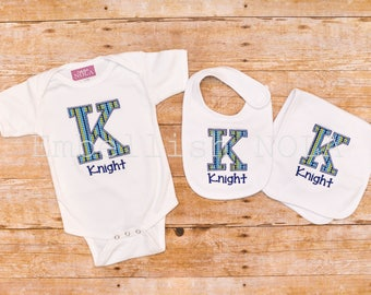Navy Blue and Lime Initial Appliqued and Monogrammed Baby Gift Set - Bib, Burp Cloth, and Bodysuit