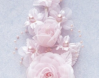 """6"""" Pink Silk Corsage Flowers with Pearl Spray"""
