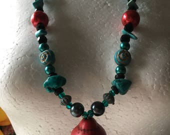 Red Buddha & teal necklace
