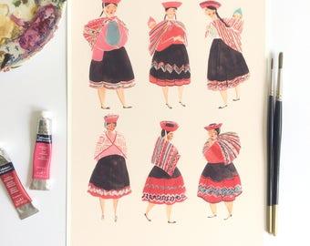 Peruvian Women  A4 Art Print