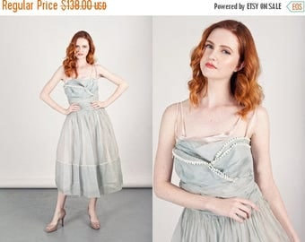 FLASH SALE 50s Chiffon Gown Vintage Powder Blue Embroidered Formal Prom Dress