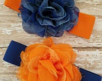 OKC Thunder Lace and Chiffon Flower Nylon Headband, Blue and Orange, Shabby Chic, Baby Girl, Photo Prop, Basketball, Denver Broncos