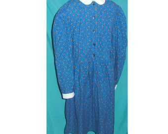 Vintage Blue LAURA ASHLEY 100% Cotton Dress White Collar Long Sleeve T8 Girl's Size 8 ~ 1980's 1990's