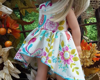 Wellie wishers doll clothes 14.5 sister dress blue asymmetrical style made to order 14 inch dolls, 18 inch American dolls, little darlings