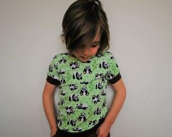 Kids green t shirt unisex retro panda top fitted vintage style pastel kitsch cute cotton animal print baby vest soft tee toddler fun t-shirt