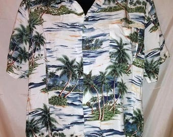 "BIG SUMMER SALE 80s Pineapple Connection Aloha Crop Top Shirt-Rayon Palms-Beach Surfer Midriff Cruise Club44"" Chest"