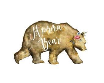 Momma bear, Wall art, Watercolor Print, momma bear, watercolor bear