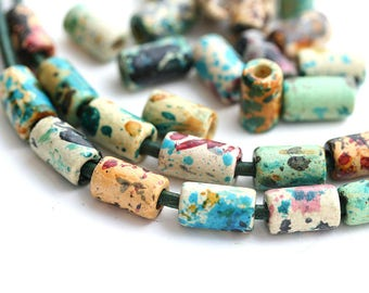 Ceramic Tube beads mix in Earthy colors, Tan natural, Green, Brown, Yellow, greek beads for leather cord - 30pc - 0507