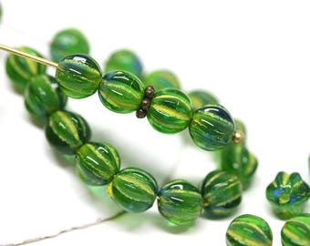 Green Yellow glass beads 6mm Melon czech round beads Green carved beads Yellow inlays - 30Pc - 2358