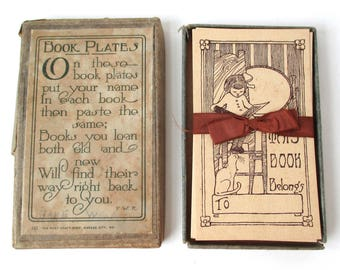 Children's Illustrated Bookplates, full set w ribbon, Story Books, Childs Library, Ex Libris