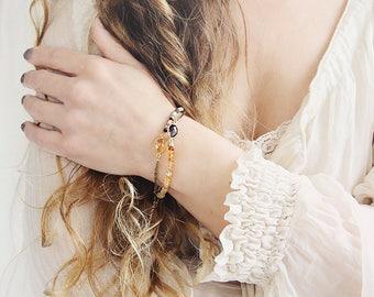 Smoky Quartz Bracelet - Citrine Bracelet -  November Birthstone Gift - Citrine Jewelry - Yellow Gold Bracelet - Dainty Bracelet