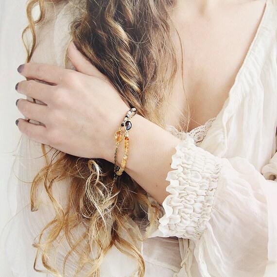 Smoky Quartz Bracelet - Citrine Birthstone Bracelet