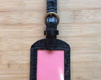 Hand made luggage tag in croc print leather