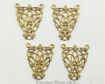 Brass Connector, Nouveau Connector, Art Nouveau Link, Filigree Connector, Raw Brass Filigree, 19mm x 24mm - 4 pcs. (r302)
