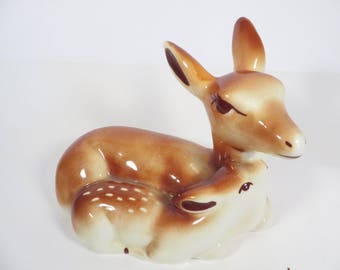 Vintage Ceramic Deer Figurine - Ceramic Doe and Fawn Ceramic Figurine