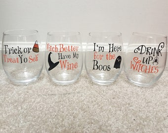 Halloween Wine Glasses // Witch Better Have My Wine // I'm Here for the Boos // Trick or Treat Yo Self // Drink Uo Witches // Stemless Wine