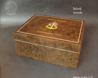 Handcrafted inlaid custom humidor.  HD50.  Free shipping within the U.S.
